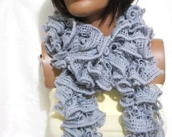 Gray chunky  Mulberry Long Crochet Scarf...Crochet Pattern