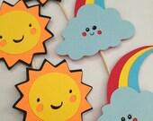 Sun & Rainbow Cupcake Toppers