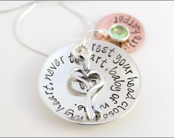 New Mommy Necklace with Custom Quote and Baby's Name | Sterling Silver & Copper Necklace with Key Charm