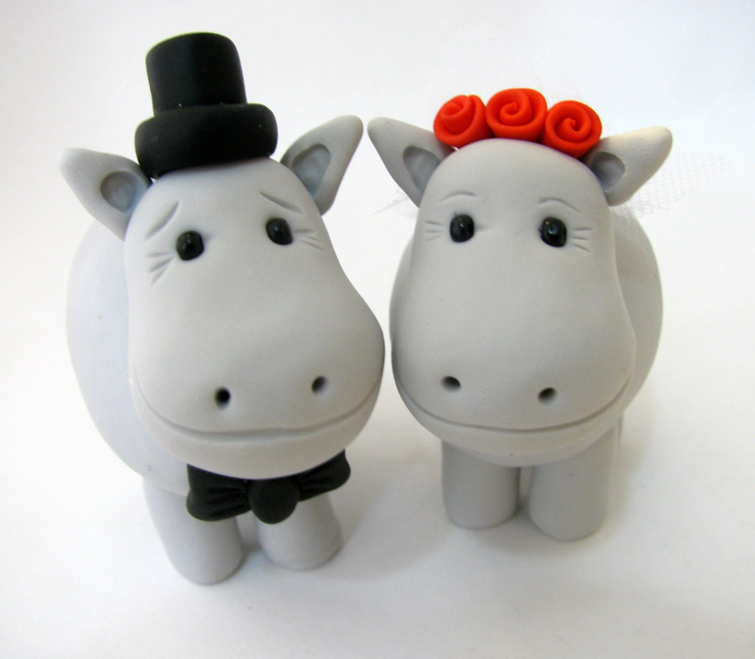 Hippo wedding cake topper cute bride and groom polymer clay