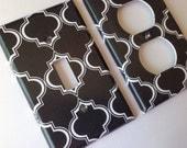 Black White Quatrefoil Single Light Switch Plate Cover / Moroccan Bedroom / Trellis Decor /Paris decor Medallion Decor /Lattice / Boho Decor