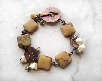 Rustic Bracelet, Jasper Bracelet, Copper Bracelet, Beadwork, Czech Glass, Beaded Brown Bracelet, Wire Wrapped, Jewelry Handmade
