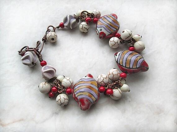 Fish Bracelet, Red Bracelet, Beaded Lavender Bracelet, Beadwork Bracelet