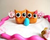 Baby Shower Cake Topper - Expectant Mommy Cake Topper- Pregnant Cake Topper- Baby Announcement Cake Topper - Owl Cake Topper