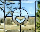 Suspended Small Clear Beveled Glass Heart in Clear Beveled Glass Frame