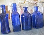 4-COBALT/ blue Decorative Colored glass bottles, floral Bud vase, vintage inspired, Home Decor, Wedding