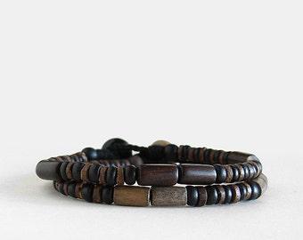 Mens wood beaded bracelet, graywood, ebony wood, corozo button clasp, linen, coco