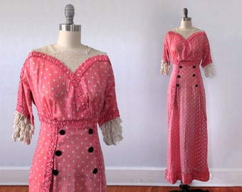 1910s Dress / Edwardian Polka Dot Day Dress RARE / Titanic Era