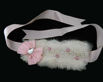 Fur Choker - Winter Bride - Garter - Headband - Hatband - Pink Rhinestones - White Fur