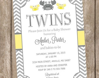 Twin crab baby shower invitation, crab baby shower invitation, crab invite, neutral twin invitation, yellow, grey, gray, twin baby shower