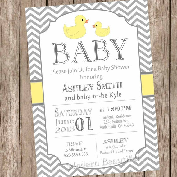 Neutral rubber ducky baby shower invitation rubber duckie baby il570xn filmwisefo