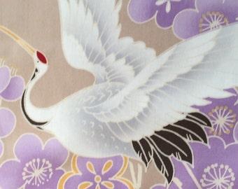 One yard Japanese kimono cotton fabric crane bird printed limited offer Blue based colour