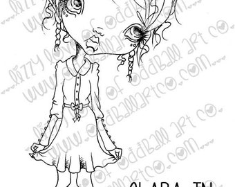 INSTANT DOWNLOAD Digi Stamp Digital Image Whimsical Big Eye Girl Clara In Love Image No.128 & 128B by Lizzy Love