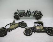 Vintage Metal Car Plaques, Old Time Automobile plaques, Metal Wall Hangings, Man Cave, Little Boys Decor, Auto Shop,