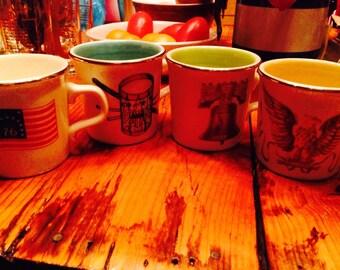 Set of four patriotic America mugs