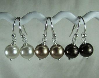 Pearl Bridesmaid Earrings Set of 6 Pair Pearl Earrings Pearl Bridesmaid Jewelry Rustic Fall Wedding Jewelry Bridal Party Jewelry