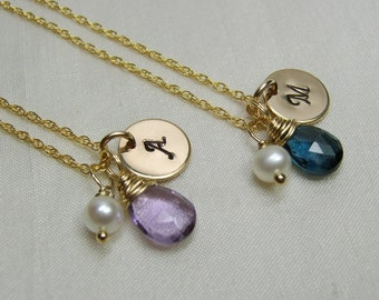Gold Initial Necklace Bridesmaid Jewelry Set of 7 Bridesmaid Gift Gold Bridesmaid Necklace Bridal Party Gifts Monogram Birthstone Necklace