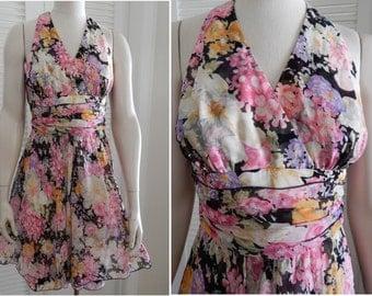 Vintage 1970s Holly's Harp Floral Silk Halter  Summer Dress Waist 28 Small