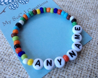 Personalized Beaded Bracelet-African Glass Seed Beads-Any Name-Any Phrase-Any Word-Boho Chic