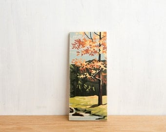 Paint by Number Art Block 'Autumn Tree' - fall foliage, vintage landscape