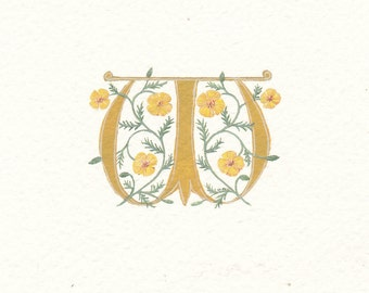 initial letter 'W' with yellow Welsh poppies on watercolour paper custom Calligraphy gift