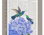 HUMMINGBIRDS on Beautiful HYDRANGEA - ARTWORK printed on Repurposed Vintage Dictionary page  Upcycled Book Print  gift her, wall decor
