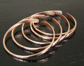 Stackable Bare Copper Wire Bangles Set of Five, 5 Hammered Copper Wire Bangle Bracelets, Stacking Bangles, Made to Order