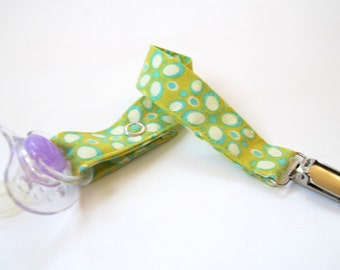 Baby Pacifier Clip / Soother Clip - Lime Green Floral Fabric
