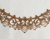 Dark Gold Venice Lace Appliques Beautiful Necklace Supplies Wedding Decor Bridal Headwear Lace Patch 1 pcs
