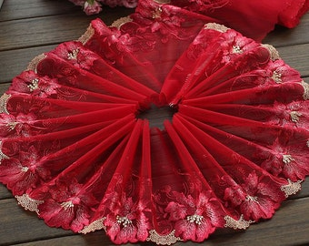 2 Yards Lace Trim Red Big Flower Embroidered Tulle Lace Trim 7.87 Inches Wide High Quality