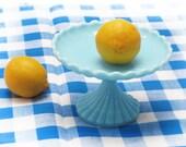 """Pastel Blue Milk Glass Pedestal / blue """"opaline"""" Compote / Candy Dish Bowl Pedestal / Candy Dish Stand Wedding Dessert Buffet Bar Candy Bar"""