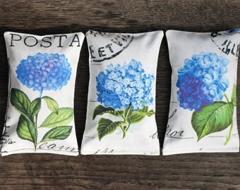 Set of 3 organic French Lavender Sachets, mini pillows Blue Hydrangea  - Hydrangea collection, scented sachets, Mini Decorative Pillows