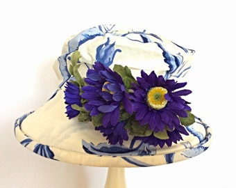 Blue and white linen hat with asters. OOAK