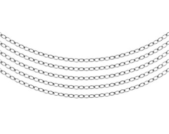 Sterling Silver 1.9x1.4mm Flat Cable Chain - 5ft (5458-5)  Made in USA 10% discounted  wholesale quantity