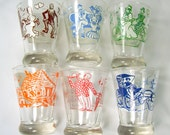 Vintage Set of 6 Song Lyric Glass Shot Cordial Old Gray Mare Daisy How Dry I Am