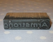 Antique Press Metal on Wood Block Stamp Advertising Newspaper - Business Logo Company Armstrong