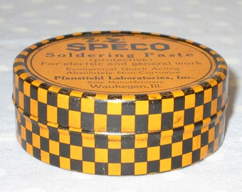 AWESOME Orange Black Checkered Vintage Tin by SPECO Soldering Paste