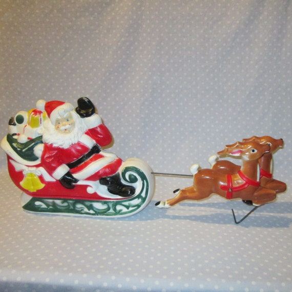 Sale vintage lighted plastic blow mold christmas santa 2 pieces