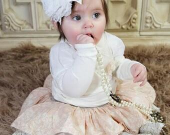 White Christening Headband, Blessings Headband, Baptism Headband, Headband, Baby Headband, Infant Headband / All White Chiffon Headband