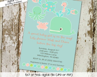 under the sea ocean invitation baby girl shower mint green coral baby sprinkle octopus whale crab (item 1327) shabby chic invitation