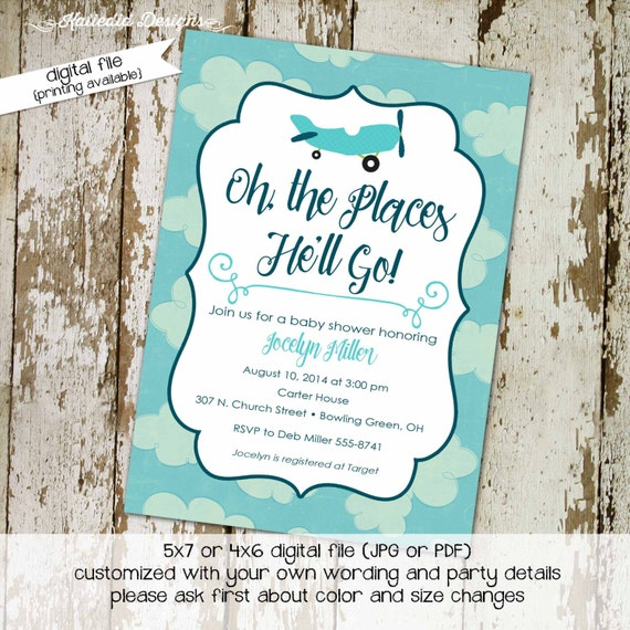 Travel Themed Invitation oh the places you'll go baby shower Adventure Awaits airplane little boy 1st birthday diaper 124 Katiedid Designs