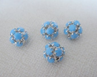 Silver turquoise blue bead, small bead Connector, Plated Stone Connector, Light Blue Bead, 2 pc, U7486
