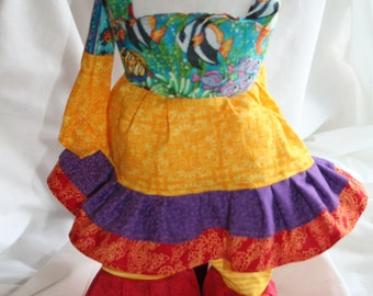 American Girl doll clothes 18 in doll clothes summer top summer pants head scarf Bright summer colors fish ruffles