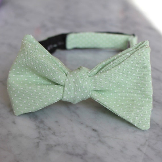 Soft Mint Green Pin Dot Bow Tie - Groomsmen and wedding tie - clip on, pre-tied with strap or self tying