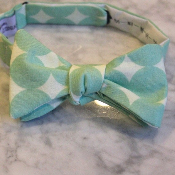 Mint Green Vintage Dot Bow Tie - Groomsmen and wedding tie - clip on, pre-tied with strap or self tying