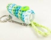 Crochet Keychain Lip Balm Holder - Green and Blue Variegated