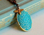 Verdigris Patina Floral locket necklace, gold aqua oval brass dragonfly charm embossed pendant birthday anniversary gift