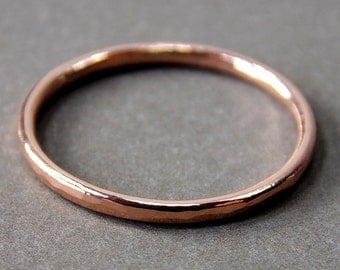 14K Rose Gold Ring, Skinny Rose Gold Stacking Ring, Solid 14K Rose Gold Ring - Made to Order