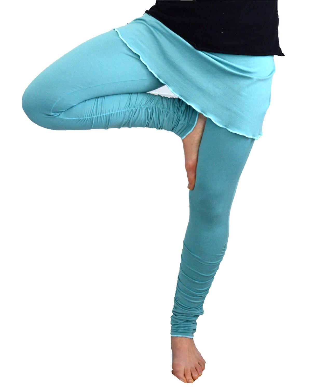 Shorts In Turquoise For Bikram Yoga: Large Turquoise Yoga Leggings Skirted Pants Shirred