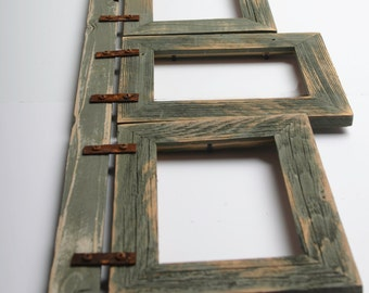 """2"""" Barnwood Collage Sage Frame 3) 5x7 Multi Opening Frame-Rustic Picture Frames-Reclaimed-Cottage Chic-Collage Frame"""
